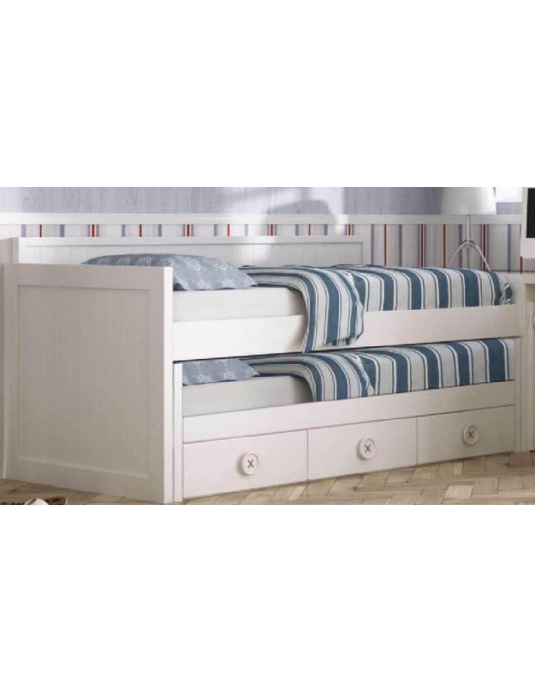 Cama compacta blanca con cajones muebles noel - Camas con cajones ...