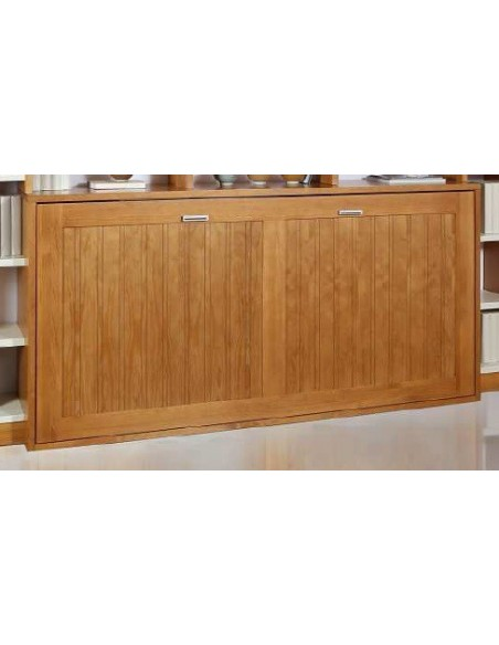 Cama abatible horizontal de madera maciza.