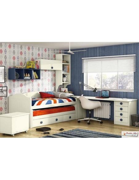 Dormitorio juvenil lacado con mesa.