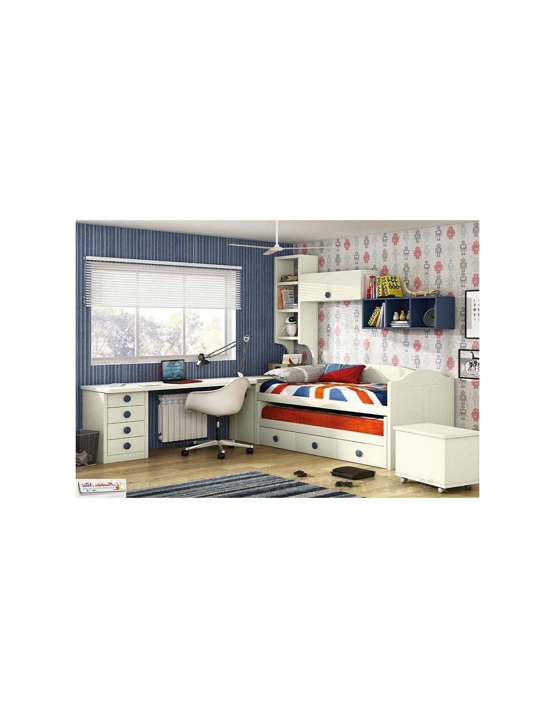 Dormitorio juvenil lacado con mesa 551 Madrid 5 Kids.