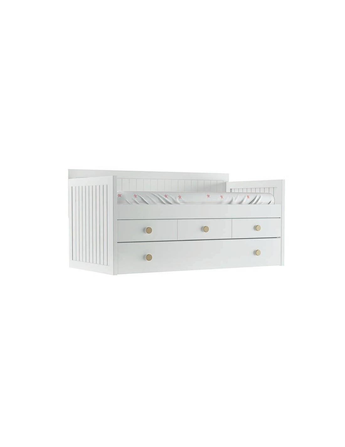 Preciosas camas nido blancas con cajones europolis for Cama nido 105 con cajones