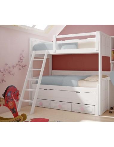 Litera blanca con 3 camas y cajones.