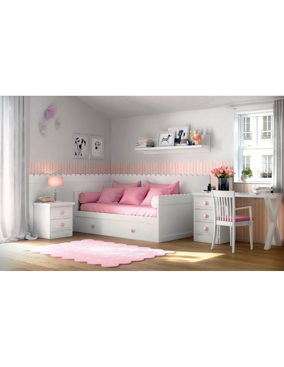 Dormitorio infantil lacado en blanco con camanido friso y for Muebles de dormitorio infantil