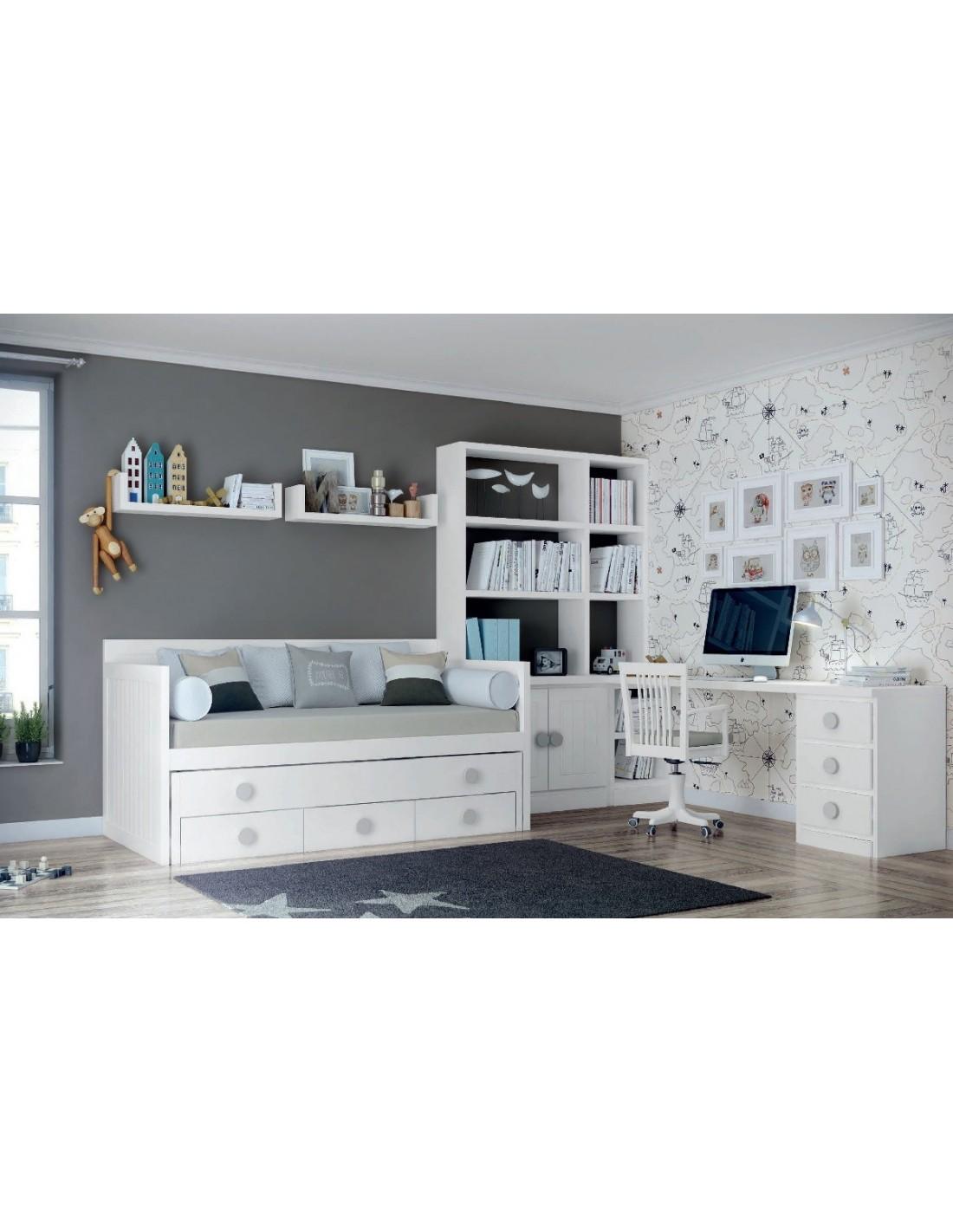 Comprar online dormitorio juvenil lacado en blanco 14 for Muebles refolio dormitorios juveniles
