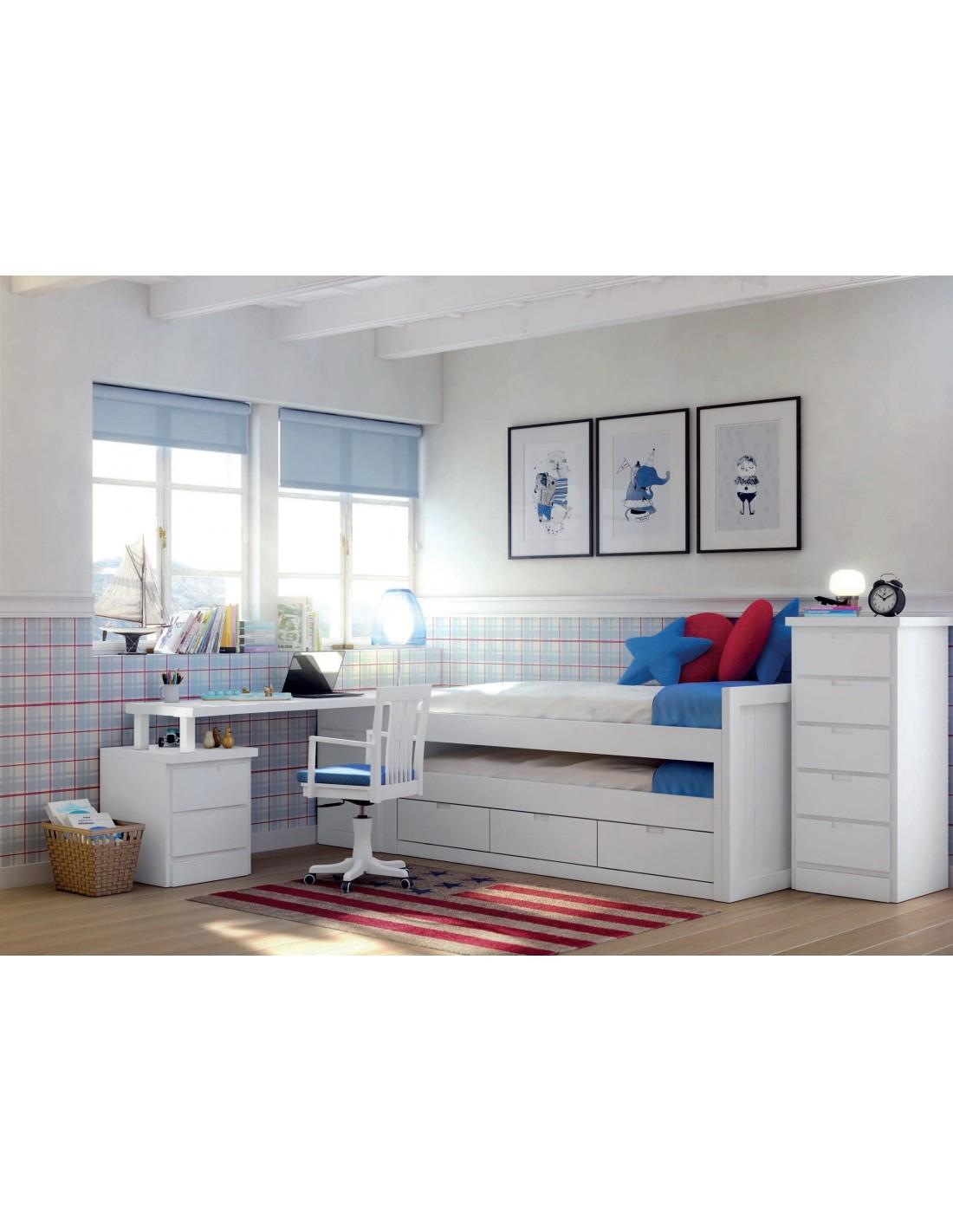 Comprar dormitorio juvenil a medida lacado en blanco for Muebles modulares juveniles