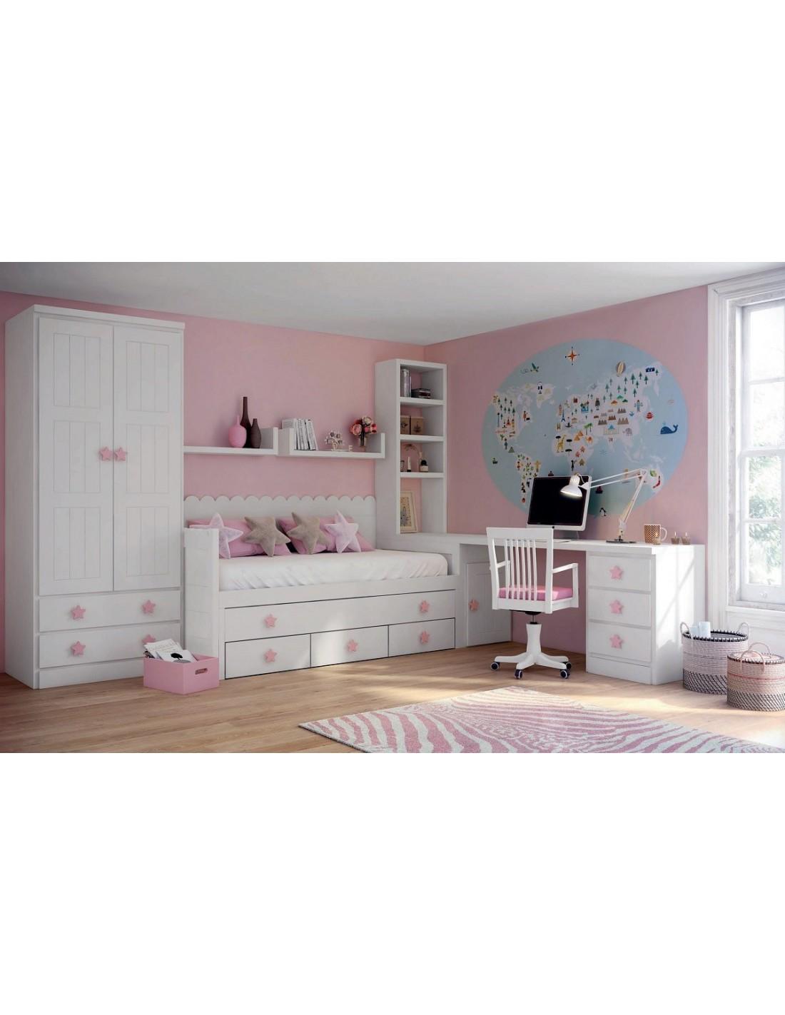 Comprar dormitorio juvenil blanco y rosa tienda muebles - Habitaciones blancas juveniles ...