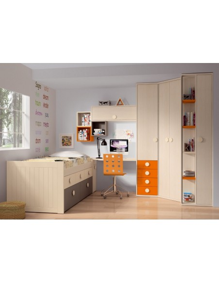 Dormitorio-juvenil-en-color-beige-de-muebles-noel-en-madrid