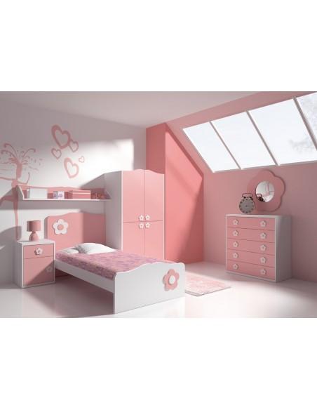 Dormitorio rosa cama flor