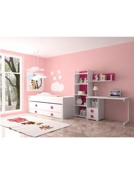 Dormitorio blanco-fucsia