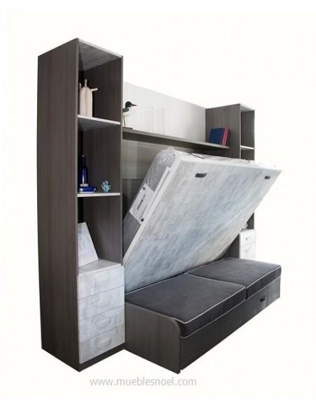 Cama abatible Tetris 9 con sofá y librerías.