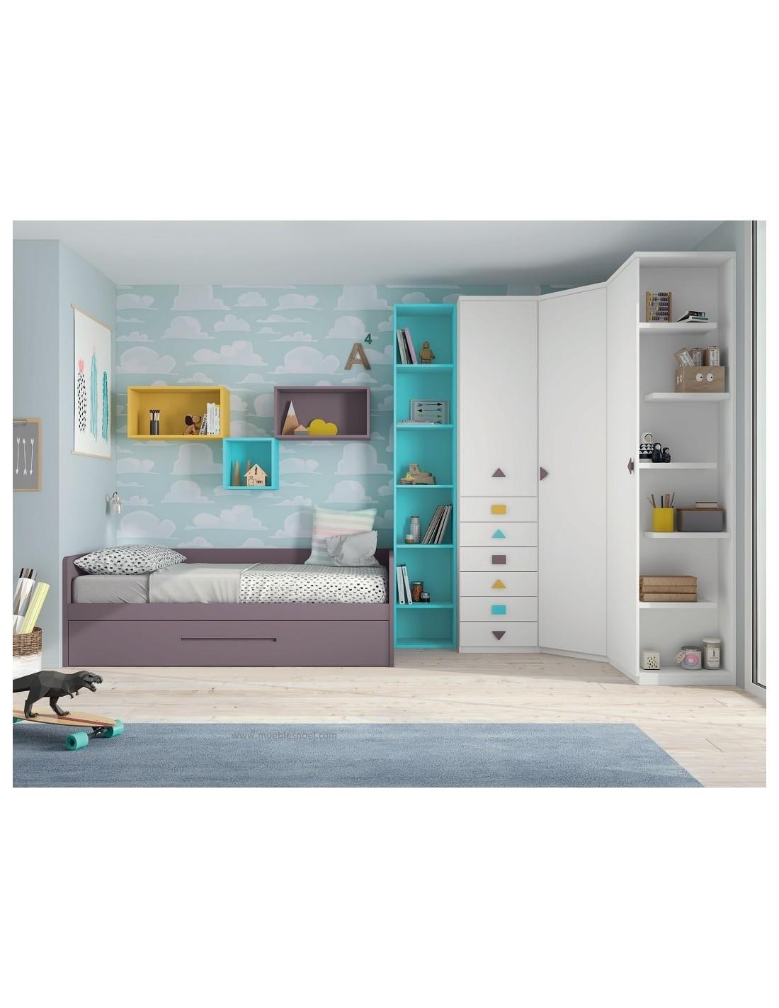 Dormitorio juvenil con grandes armarios y cama nido de for Cama nido con armario
