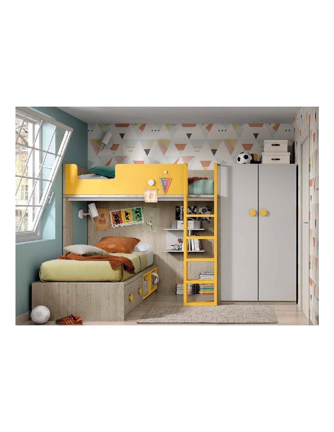 Literas noel con camas cruzadas armario cajones y escalera - Literas con armario ...
