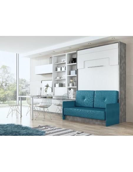 Foto-de-como-amueblar-un-apartamento-con-cama-abatible-de-matrimonio-con-sofa- delante-de-Muebles-Noel
