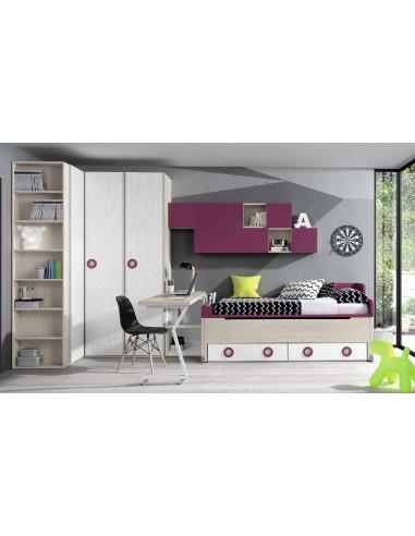 Dormitorio-juvenil-con-un-gran-armario-rinconero-camanido-y-mesa-estudio-giratoria