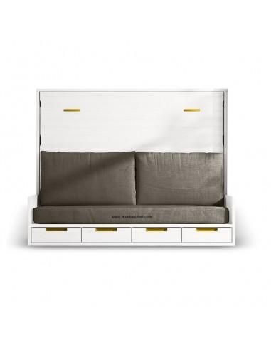 Mueble cama con sofá delante