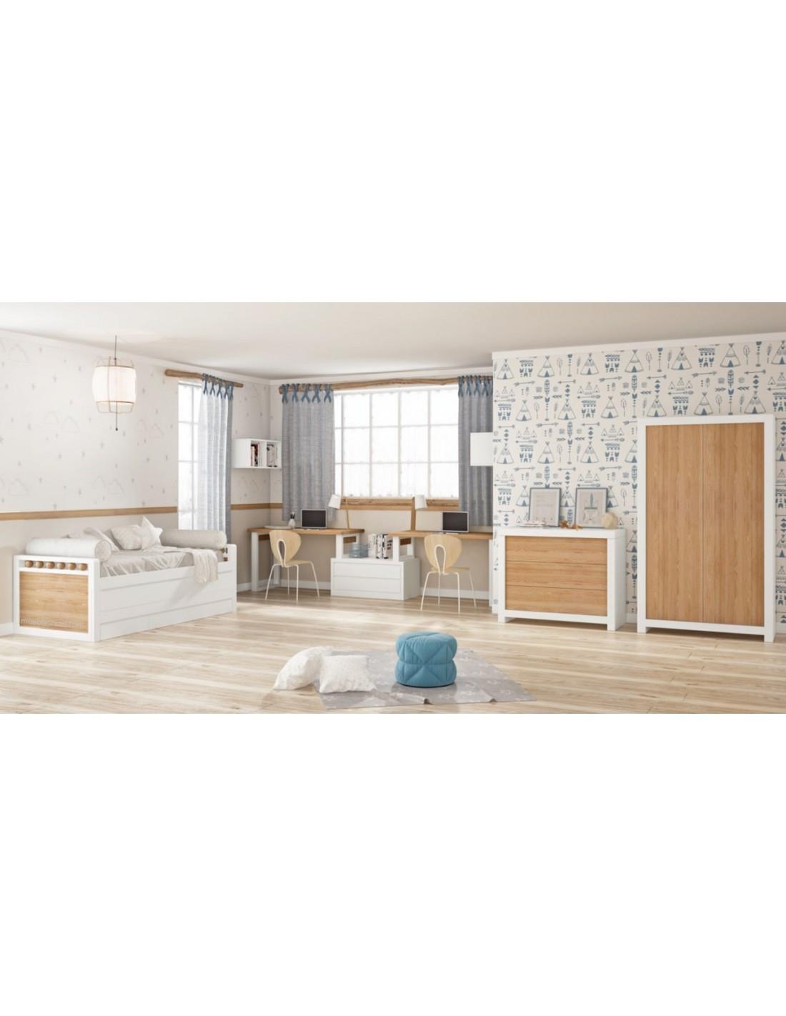 Dormitorio juvenil lacado blanco con detalles en madera.