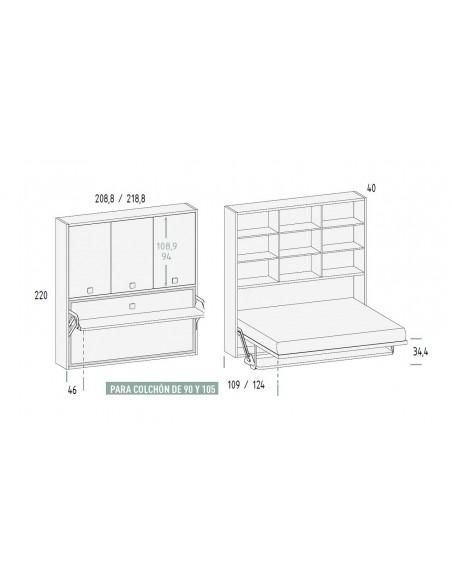 Mueble cama con mesa  y armario medfidas