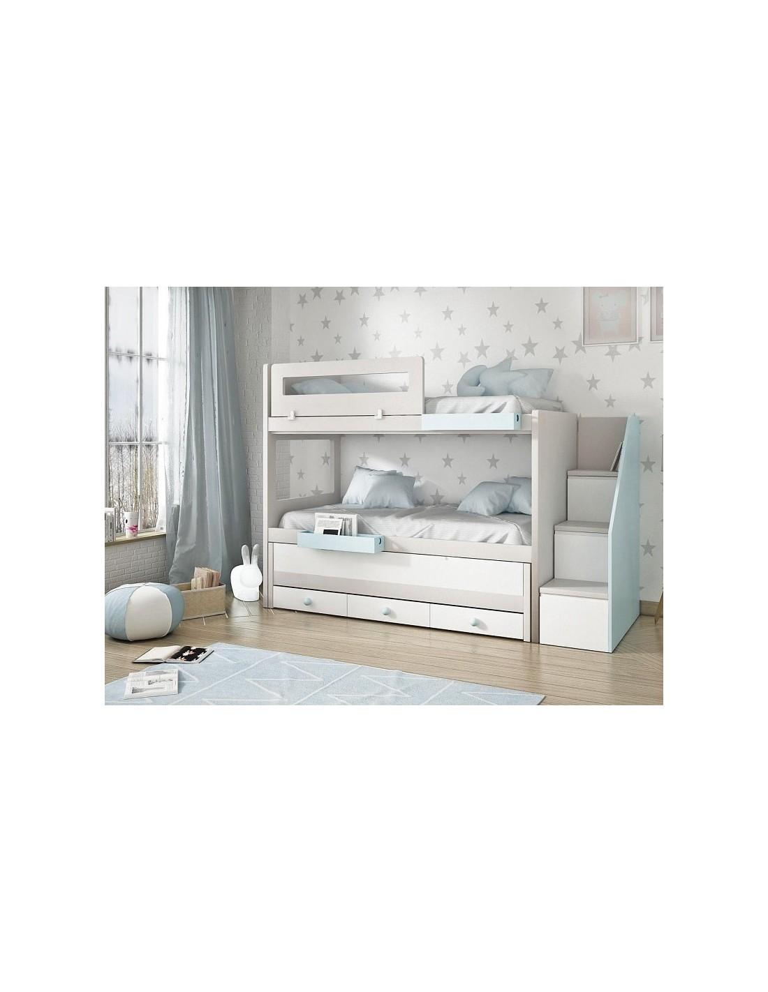 Litera manzanares con tres camas cajones y escalera - Escaleras para camas nido ...