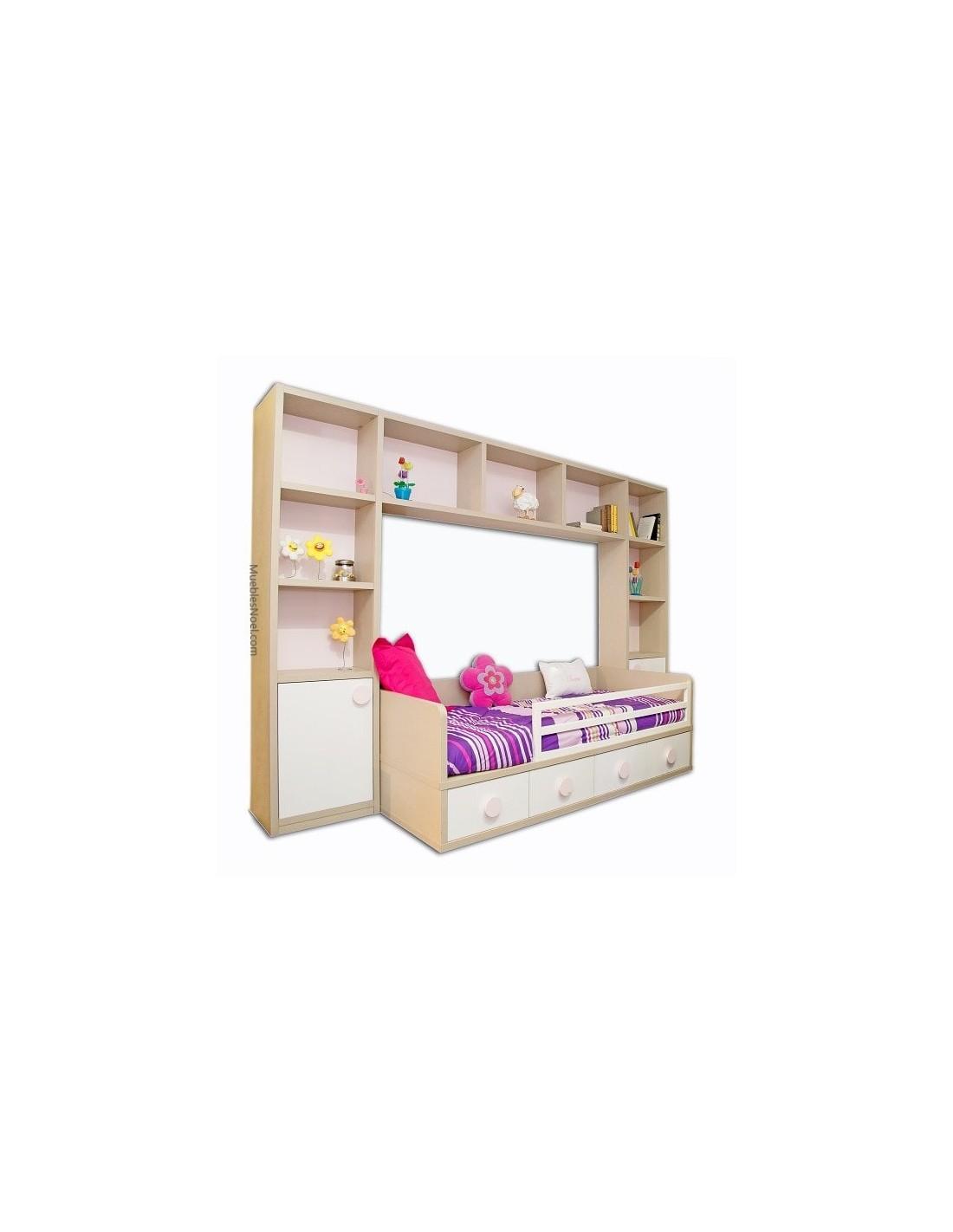Dormitorio juvenil con librerias