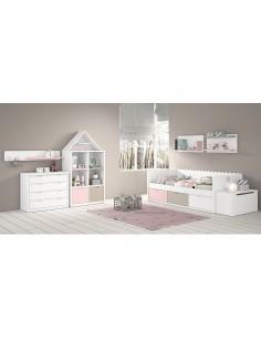 Dormitorio infantil lacado cama nido ondas