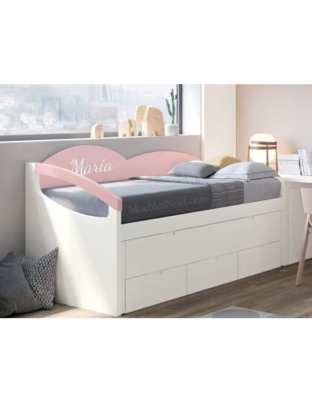 Mueble Cama Nido blanca y rosa Maria.