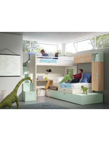 Dormitorio-juvenil-con-3-camas-Rio-Rosas-Madrid-Muebles-Noel