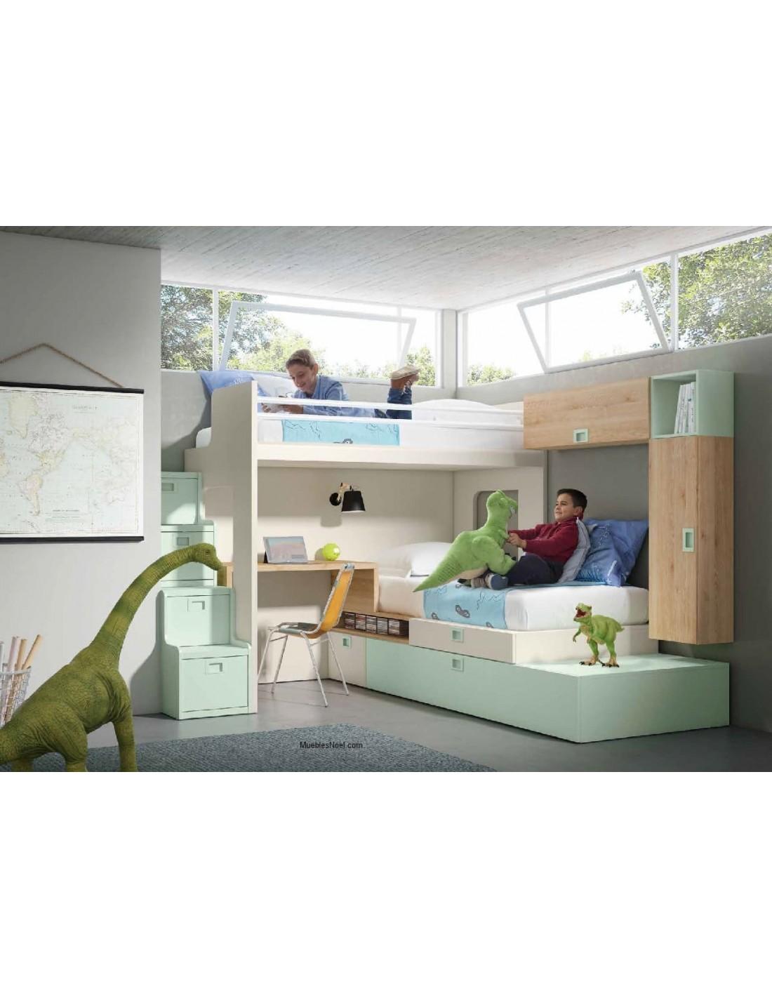 Dormitorio con literas en esquina