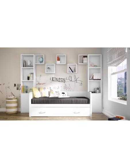 dormitorio-con-cama-nido-blanca-Noel-Madrid