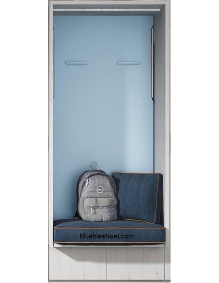 Cama abatible vertical azul con asiento Navalcarnero
