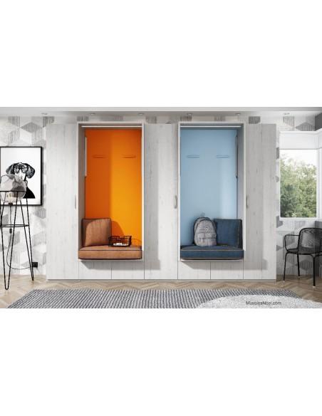 dormitorio con Camas abatibles verticales con asientos y armarios Navalcarnero