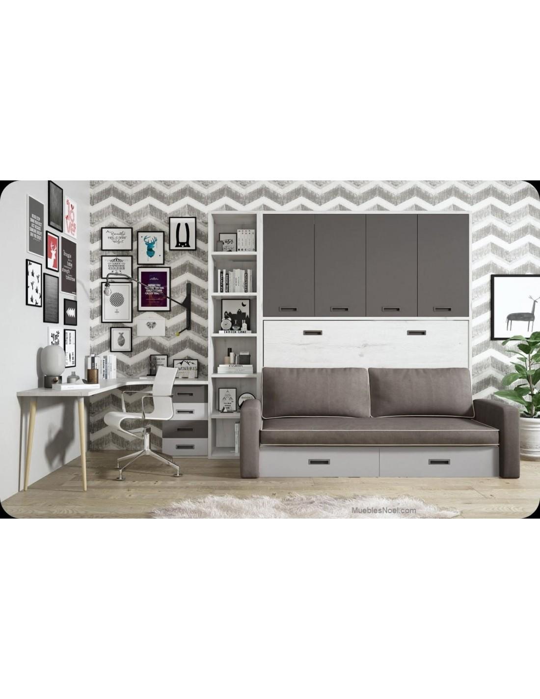 Dormitorio juvenil Alcala con cama abatible, sofá, armario y zona para estudiar.