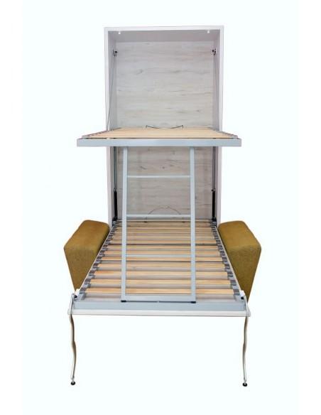 litera vertical abierta con sofa delante