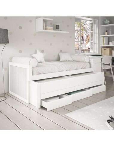 Cama-nido-con-2-camas-y-3-cajones-lacada-en-blanco-y-gris
