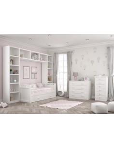 Dormitorio-infantil-blanco-con-cama-nido-librerias-comoda-y-sinfonier-roble