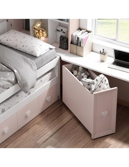 Arcón de dormitorio juvenil blanco y rosa.