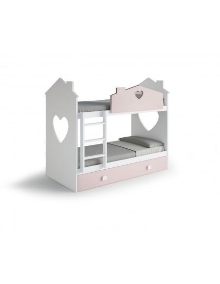 Litera blanca y rosa con 3 camas.