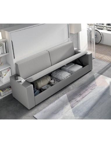Cama horizontal simple con sofá canapé.
