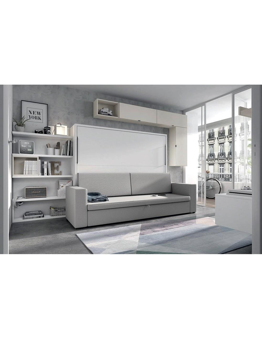 cama horizontal simple con sofá canapé