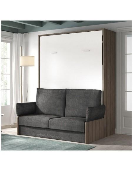 Cama abatible para amueblar pisos pequeños. Por un lado tienes una cama abatible con un cómodo sofá de diseño moderno.