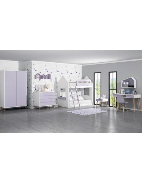 Dormitorio con litera infantil blanca Montessori Torrejón.