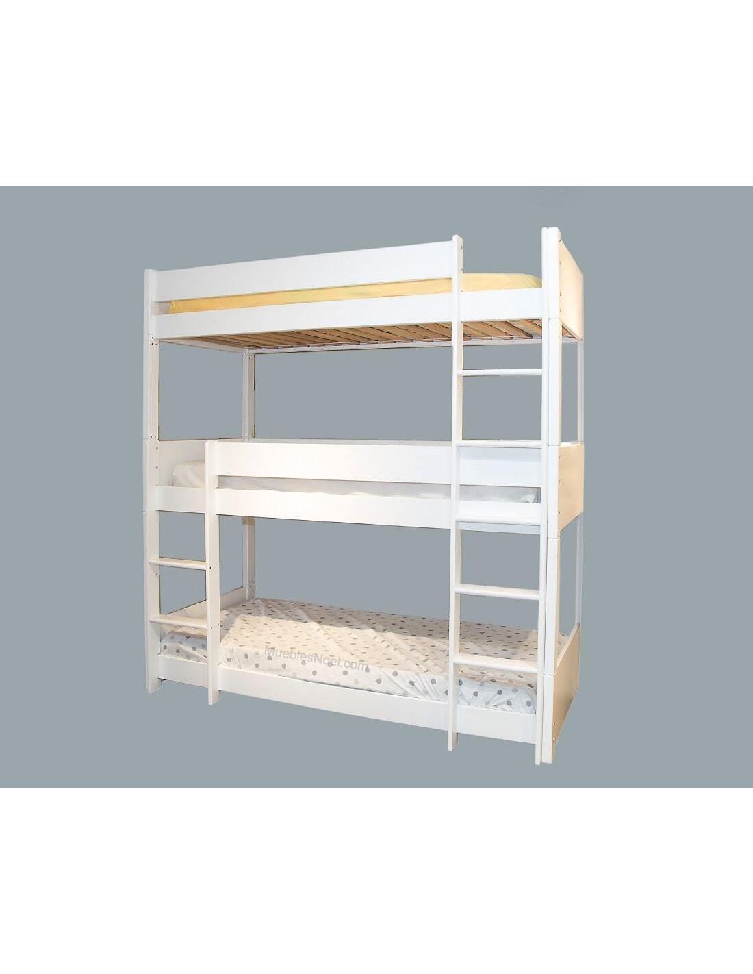 Litera 3 camas blanca en Muebles Noel de Madrid.