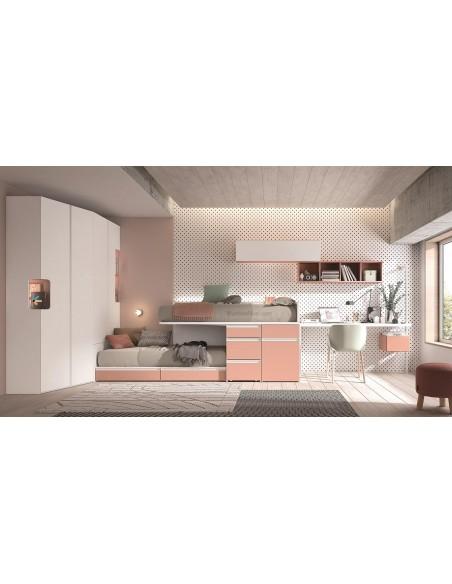 Dormitorio Juvenil Rosa y blanco con armario y litera tren.