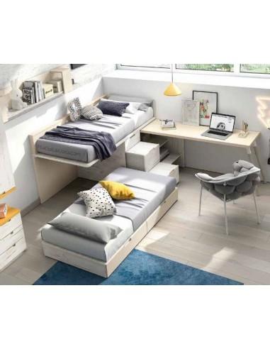 litera tipo tren con cama baja deslizante, cajones que sirven de escalera y mesa estudio integrada.