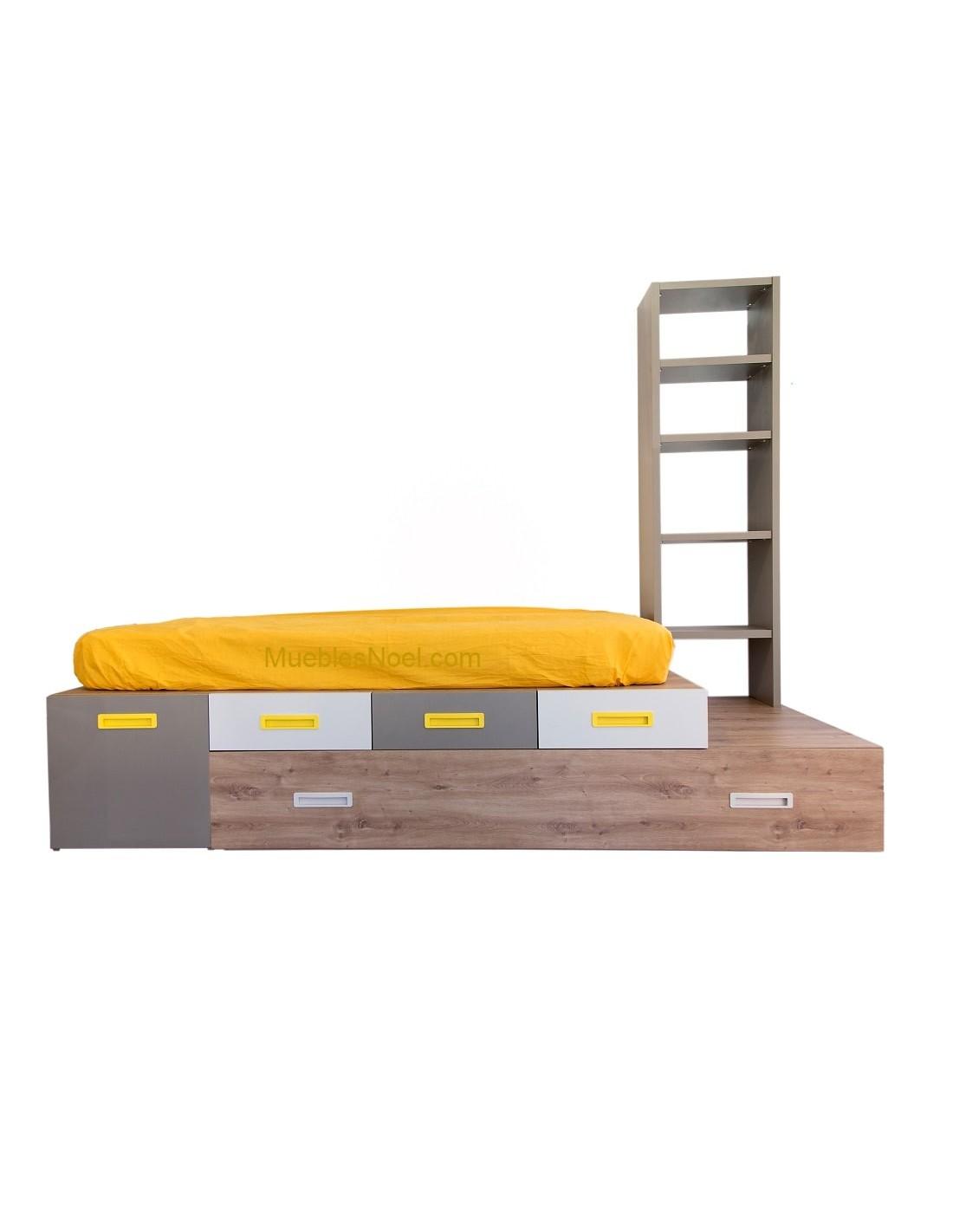 Dormitorio juvenil con cama nido con cajón tipo tatami modelo Follow cajones y librería.