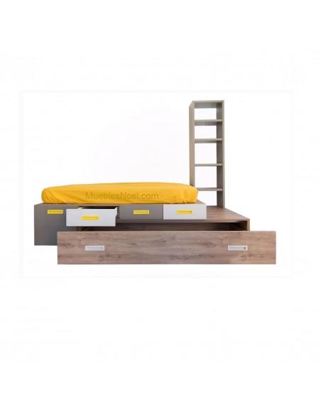 Dormitorio juvenil moderno con cajón dentro de la cama nido Tami Follow.