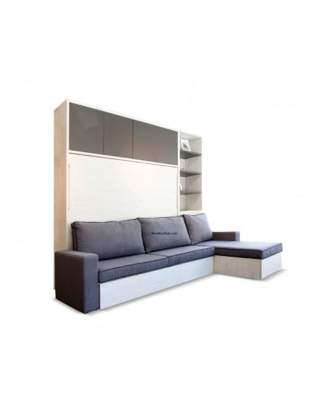 Café. Librería con cama abatible horizontal con sofá nido rinconera y armario superior.