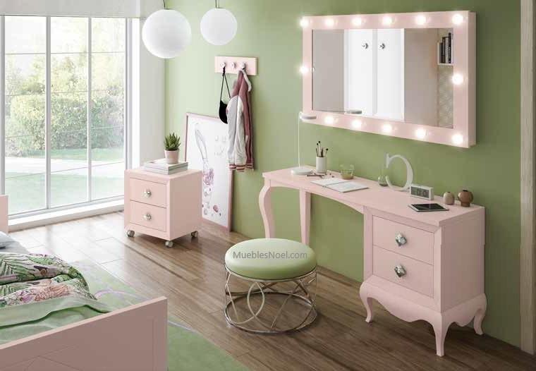 Escritorio rosa con espejo camerino